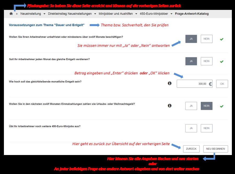 Bild: Beispiel Frage-Antwort-Katalog (450-Euro-Minijobber)