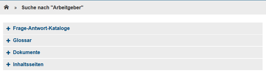 Bild: Kategorien der Suchergebnisse